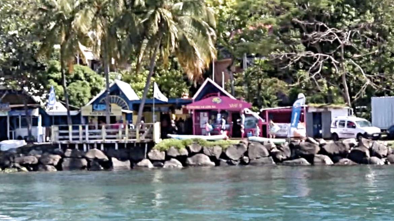 Die bunten Häuser am Strand