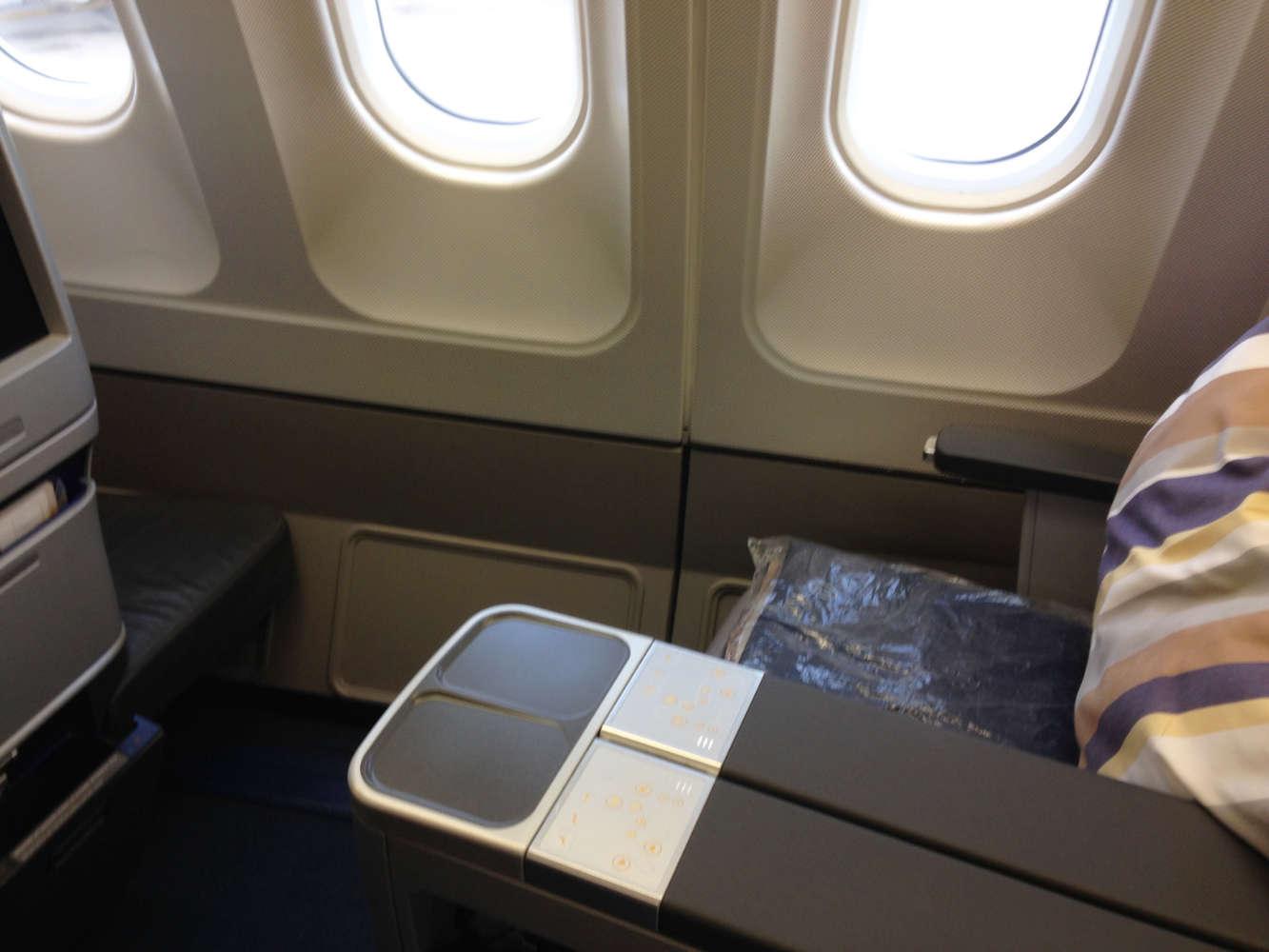 Der sitz in der Business Class der Lufthansa