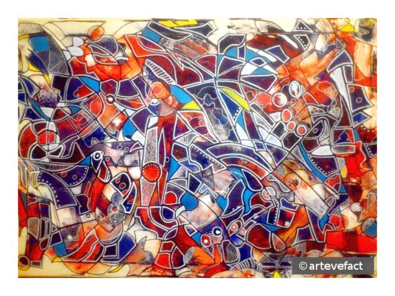 Crazy, mixed media on canvas, 70 x 100cm, 2016